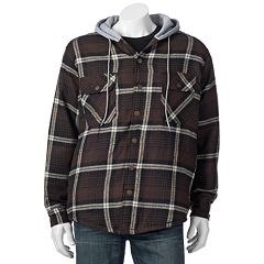 Victory Rugged Wear Plaid Flannel Hooded Shirt Jacket Men