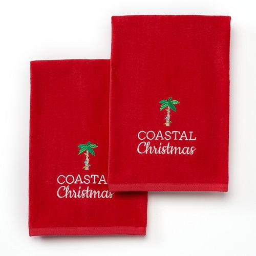 2-Pack St. Nicholas Square Coastal Christmas Hand Towels