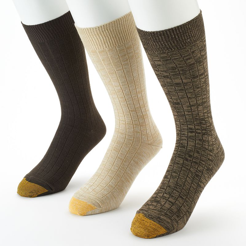 Men's GOLDTOE 3-pack Johnny Rib Casual Crew Socks
