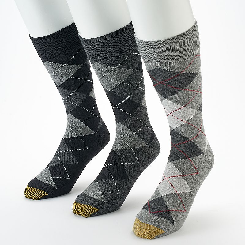 Men's GOLDTOE 3-pack Carlyle Argyle Crew Socks