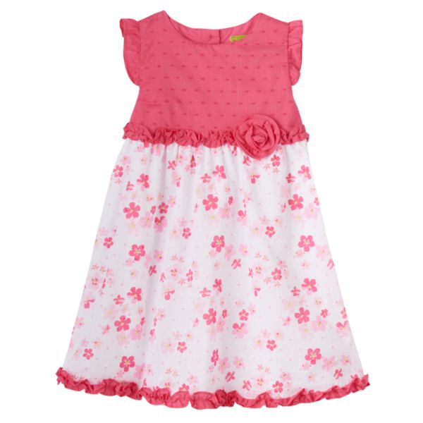 Penny M Swiss Dot Floral Ruffle Dress - Toddler Girl