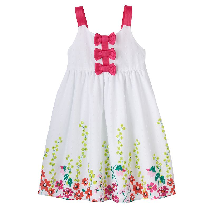 Penny M Floral Swiss Dot Bow Dress - Toddler Girl