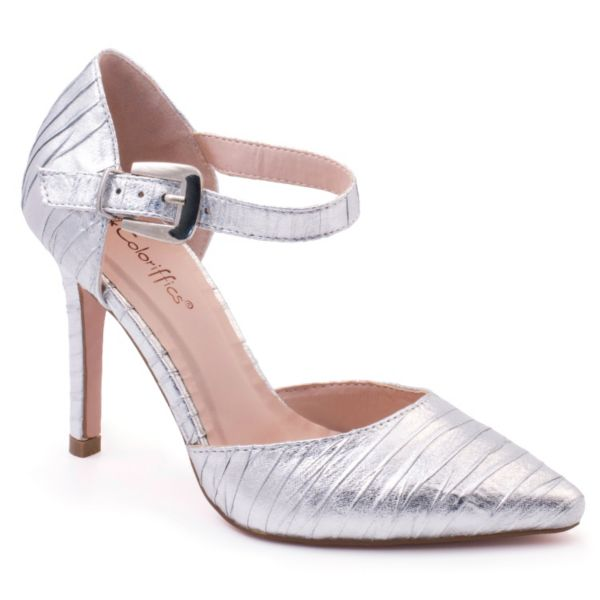 Coloriffics Elana Women's Ankle Strap Satin Dress Heels