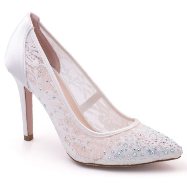 Coloriffics Eleni Women's Lace Satin Bridal Heels