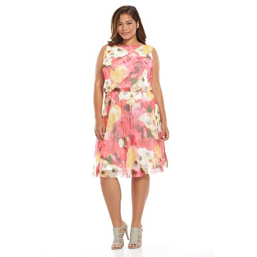 Plus Size Suite 7 Floral Mesh Blouson Dress Kohls On Sale