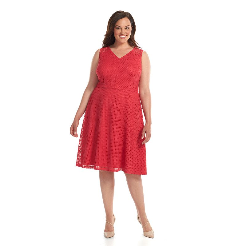 Plus Size Suite 7 Eyelet Fit & Flare Dress