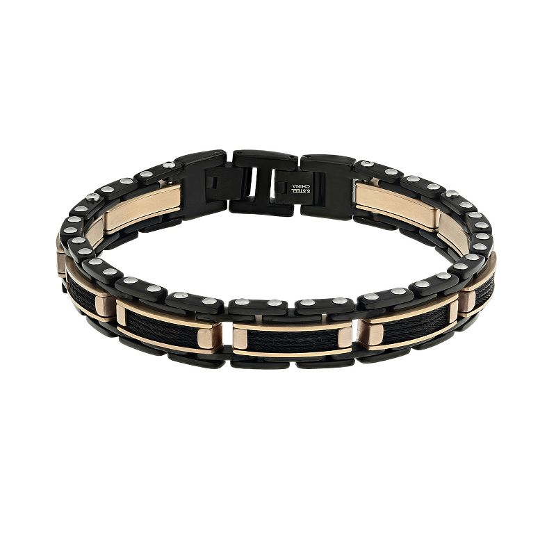 LYNX Ion-Plated Stainless Steel Two Tone Bracelet - Men