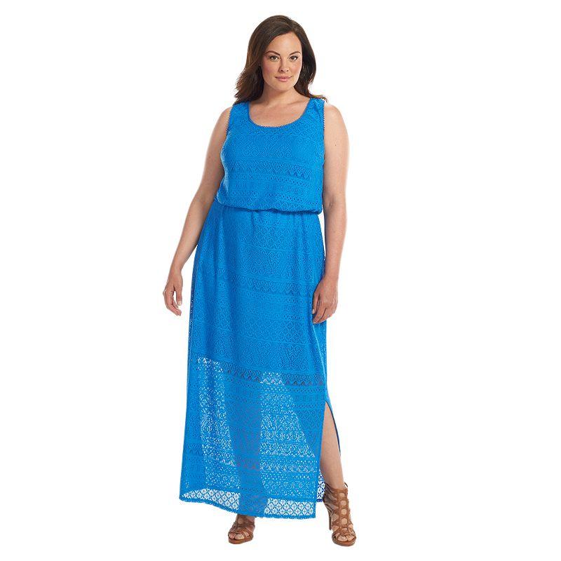 Plus Size Suite 7 Crochet Blouson Maxi Dress, Blue