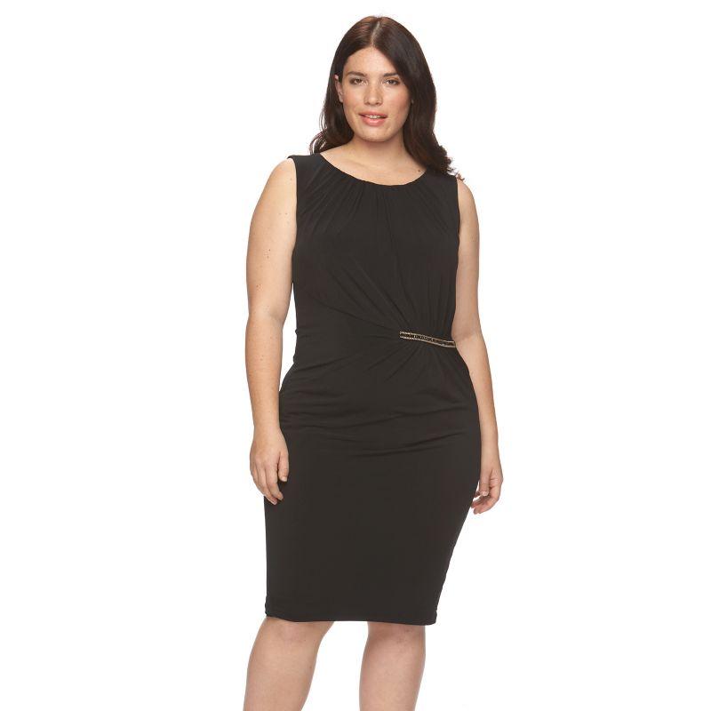 Plus Size Suite 7 Embellished Sheath Dress, Women's, Size: 14 W, Black