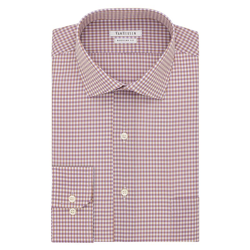 Men's Van Heusen Regular-Fit Checked Cutaway-Collar Dress Shirt