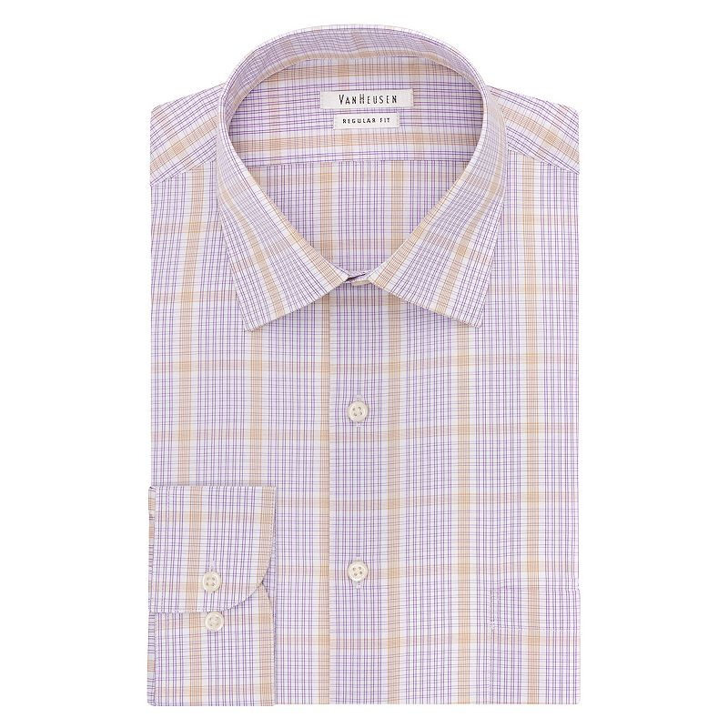 Men's Van Heusen Regular-Fit Grid Spread-Collar Dress Shirt