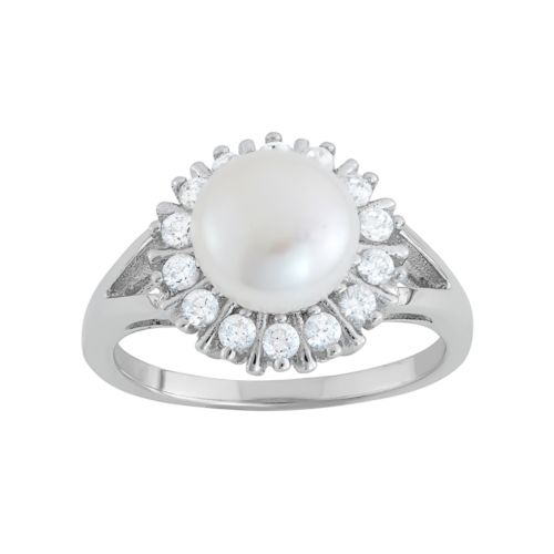 Freshwater Cultured Pearl & Cubic Zirconia Sterling Silver Starburst Ring