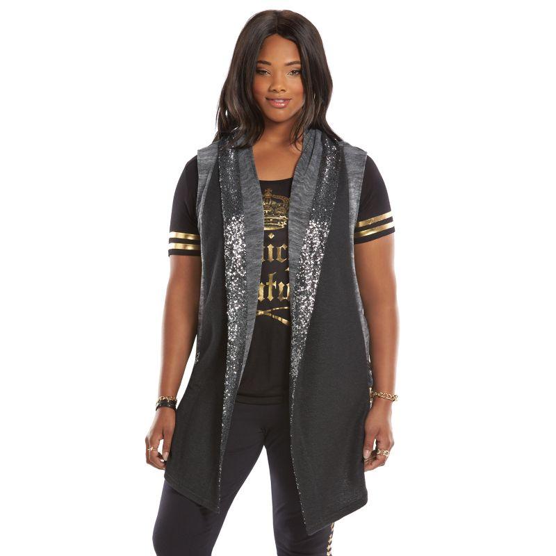 Plus Size Juicy Couture Space-Dyed Sequin Flyaway Vest, Women's, Size: 0X, Grey