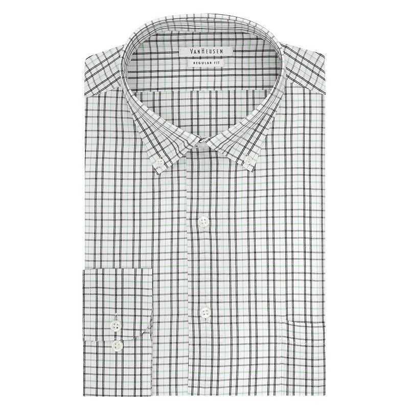 Big & Tall Van Heusen Regular-Fit Grid Button-Down Collar Dress Shirt