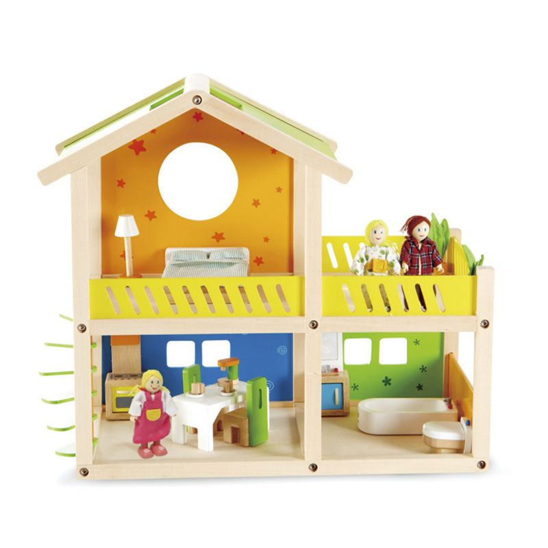 Hape Happy Villa Cottage Dollhouse Set, Multicolor