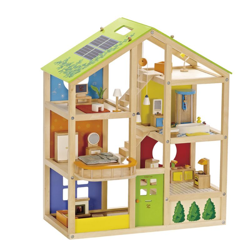Hape Furnished All Season Dollhouse Set, Multicolor