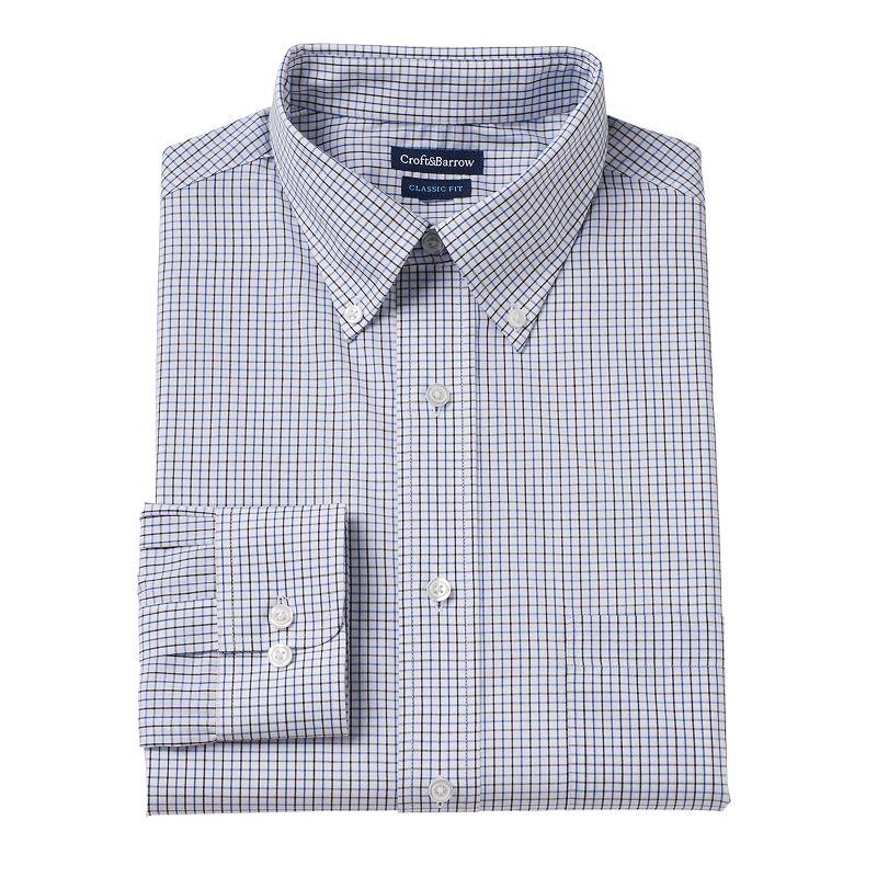 Men's Croft & Barrow® Classic-Fit Grid Button-Down Collar Dress Shirt - Men