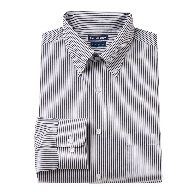 Men's Croft & Barrow® Classic-Fit Striped Button-Down Collar Dress Shirt - Men