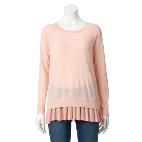 Women's AB Studio Chiffon Hem Crewneck Sweater
