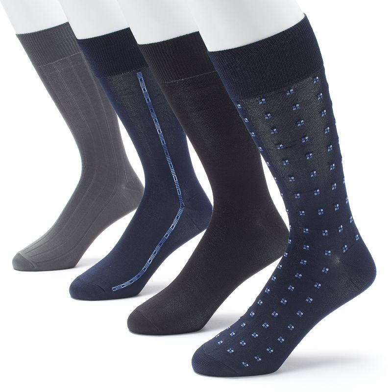 Men's Croft & Barrow 4-pack Patterned Microfiber Fashion Clocking Dress Socks