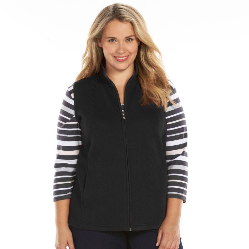 Plus Size Croft & Barrow Quilted Vest, Women's, Size: 1X, Black