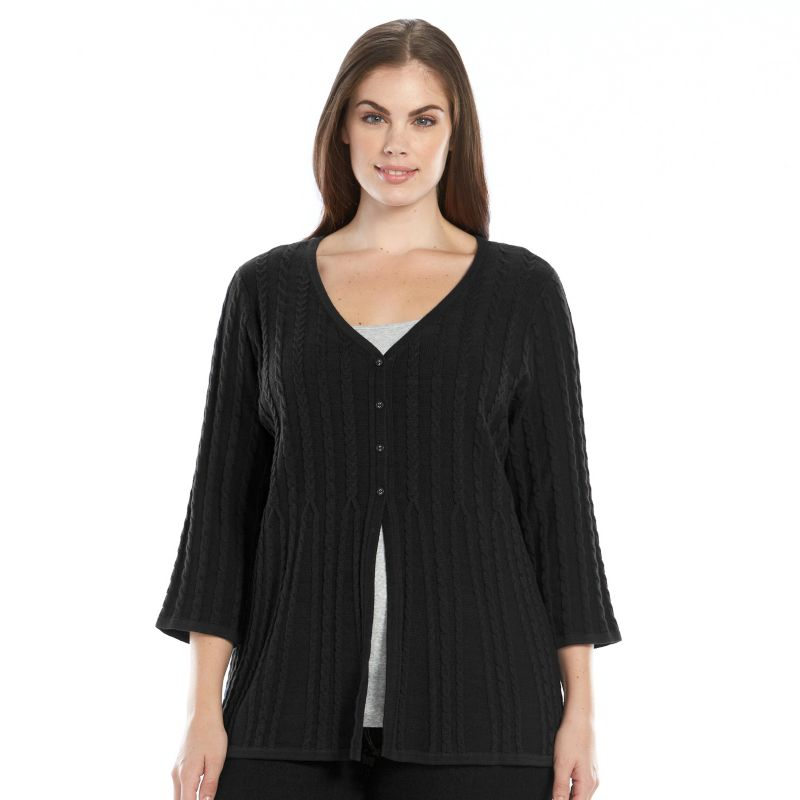 Plus Size Croft & Barrow V-Neck Cable-Knit Flyaway Cardigan, Women's, Size: 1X, Black