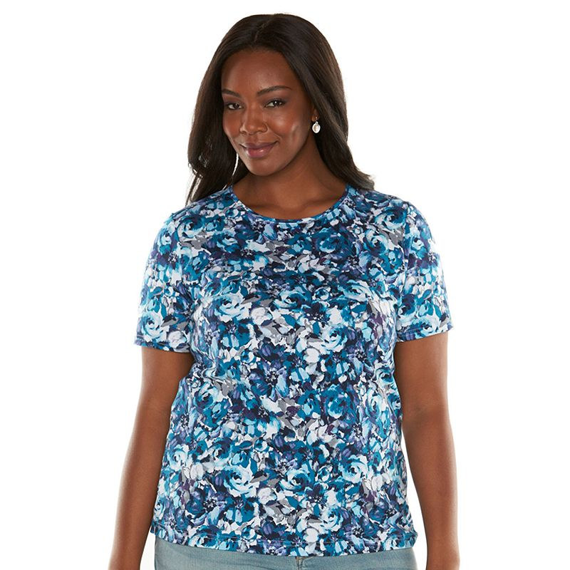 Croft & Barrow® Essential Printed Crewneck Tee - Women's Plus Size
