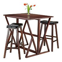 Winsome 3-piece Harrington Table & Faux-Leather Top Stool Set