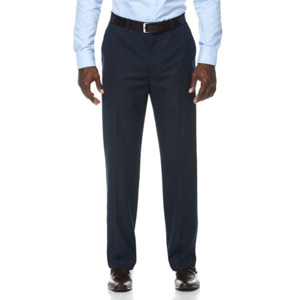 Men's Savane Wrinkle-Resistant Dark Navy Mini-Houndstooth Flat-Front Suit Pants