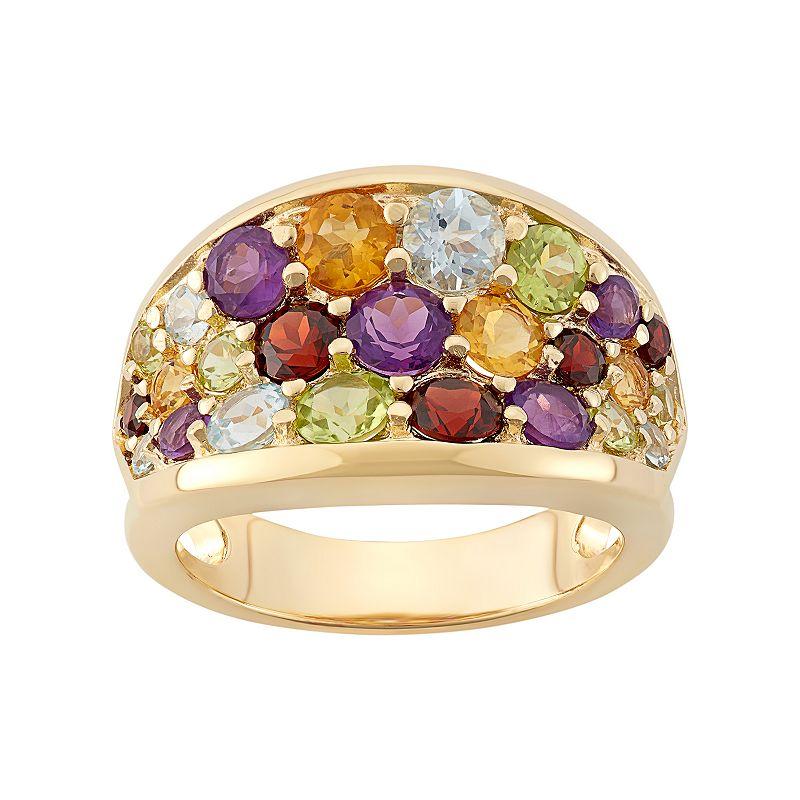 Gemstone 18k Gold Over Silver Cluster Ring