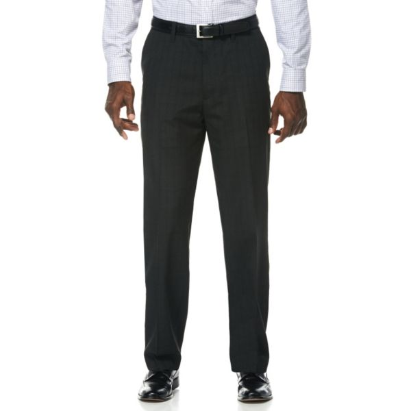 Men's Savane Shadow Plaid Wrinkle-Resistant Flat-Front Suit Pants