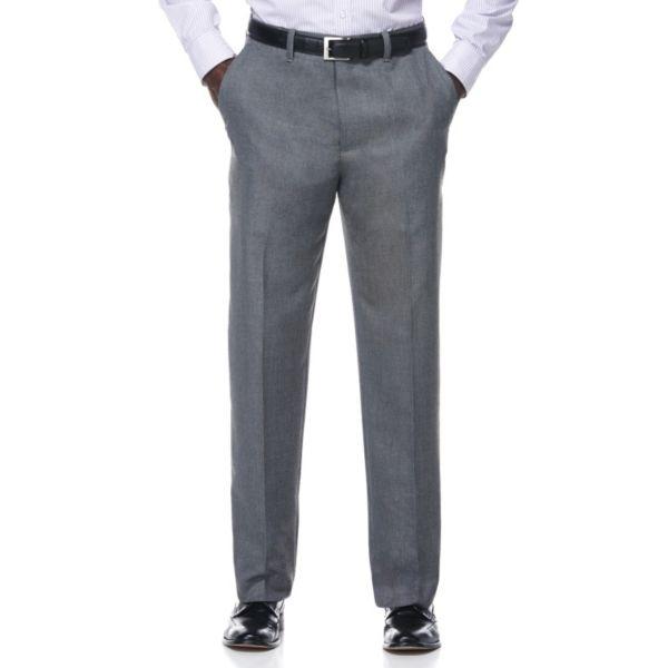 Men's Savane Gray Sharkskin Textured Wrinkle-Resistant Flat-Front Suit Pants