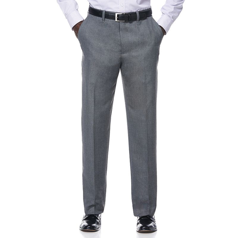 Men's Savane Gray Sharkskin Textured Wrinkle-Resistant Flat-Front Suit Pants