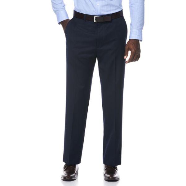 Men's Savane Dark Navy Pinstripe Wrinkle-Resistant Flat-Front Suit Pants