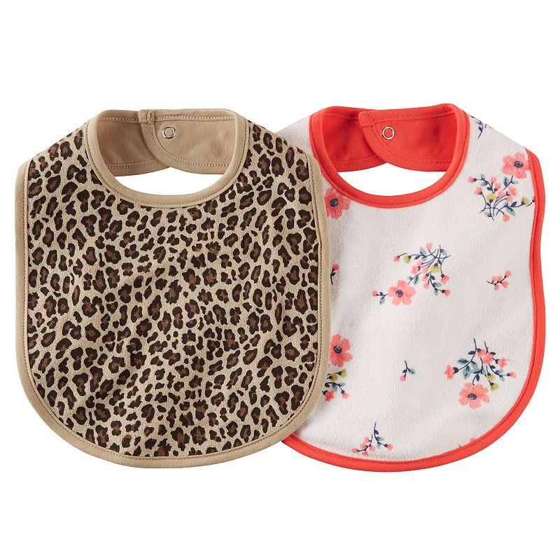 Baby Girl Carter's 2-pk. Leopard & Flower Bibs