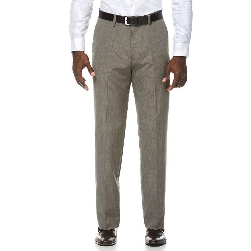 Men's Savane Taupe Pinstripe Flat-Front Suit Pants