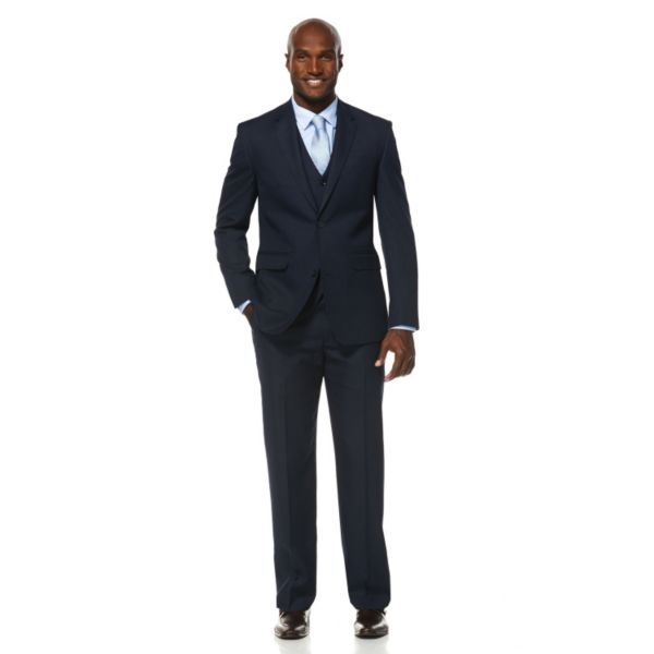 Men's Savane Wrinkle-Resistant Dark Navy Mini-Houndstooth Suit Jacket