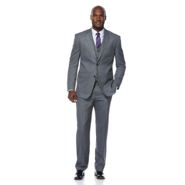 Men's Savane Gray Sharkskin Textured Wrinkle-Resistant Suit Jacket