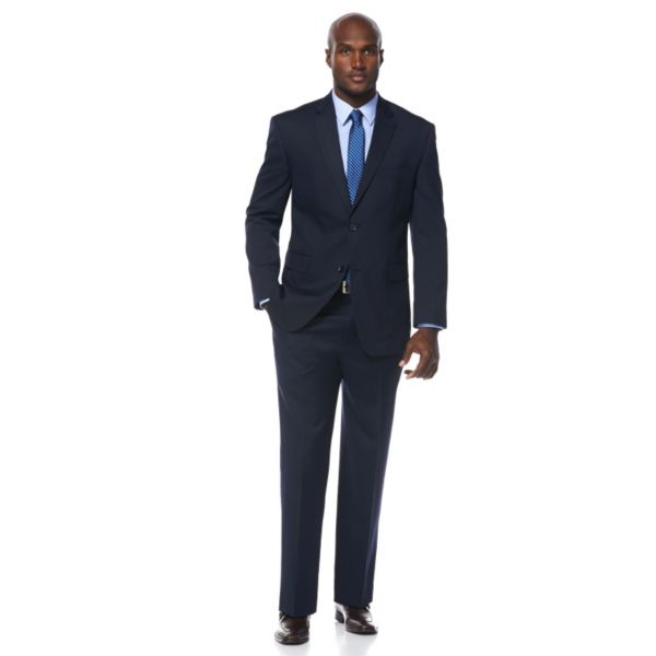 Men's Savane Dark Navy Pinstripe Wrinkle-Resistant Suit Jacket