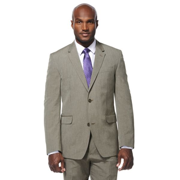 Men's Savane Taupe Pinstripe Suit Jacket