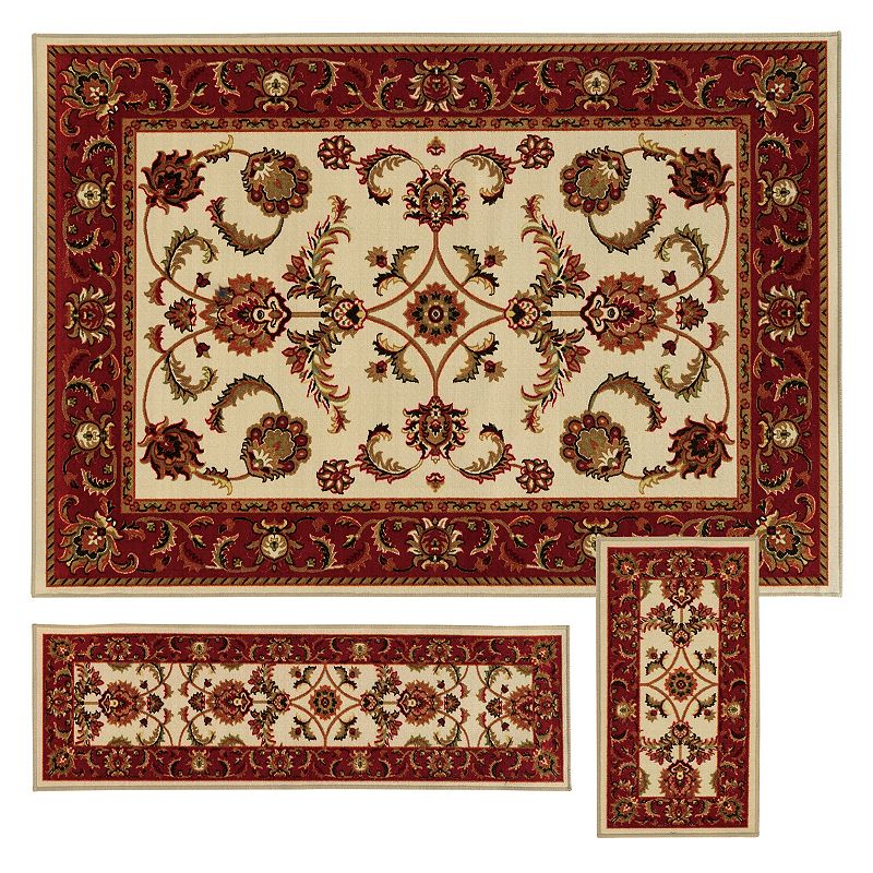 StyleHaven Treble Oriental Floral 3-pc. Rug Set