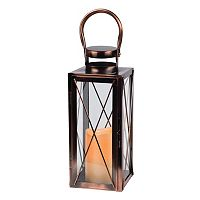 Gerson Tall Metal Lantern & Flameless Candle