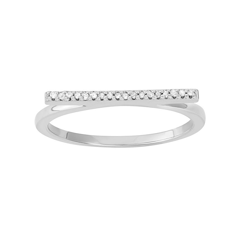 Diamond Accent Sterling Silver Bar Ring