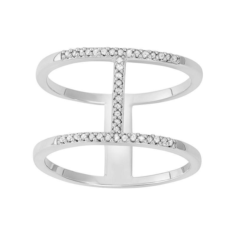 1/10 Carat T.W. Diamond Sterling Silver H Ring