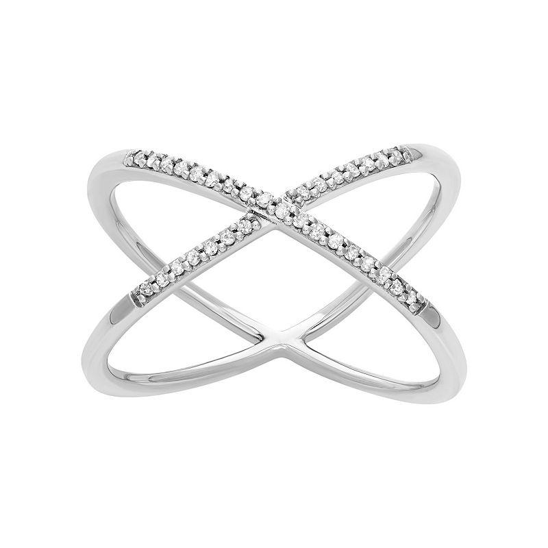 1/10 Carat T.W. Diamond Sterling Silver X Ring