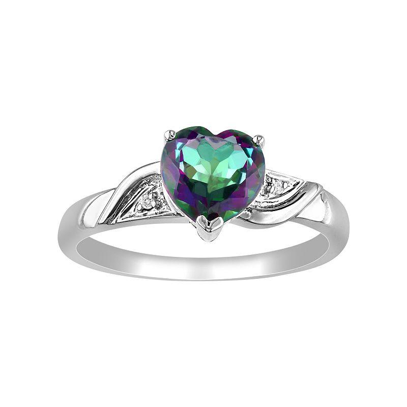 Exotic Green Topaz & Diamond Accent 10k White Gold Heart Ring