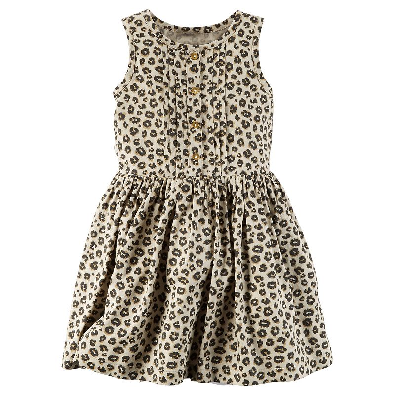 Toddler Girl Carter's Pleated Leopard Dress