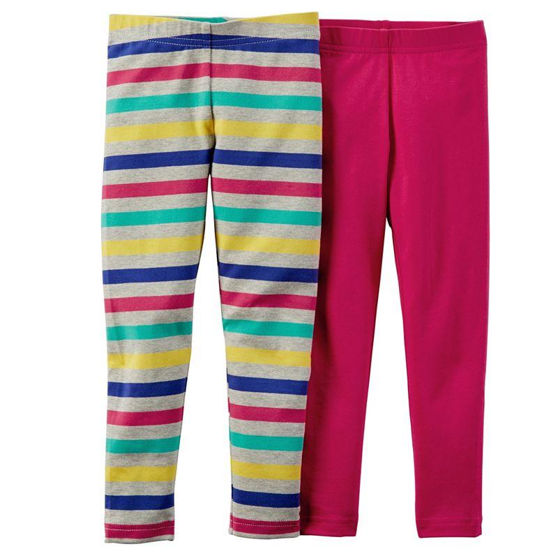 Toddler Girl Carter's 2-pk. Stripe & Solid Leggings