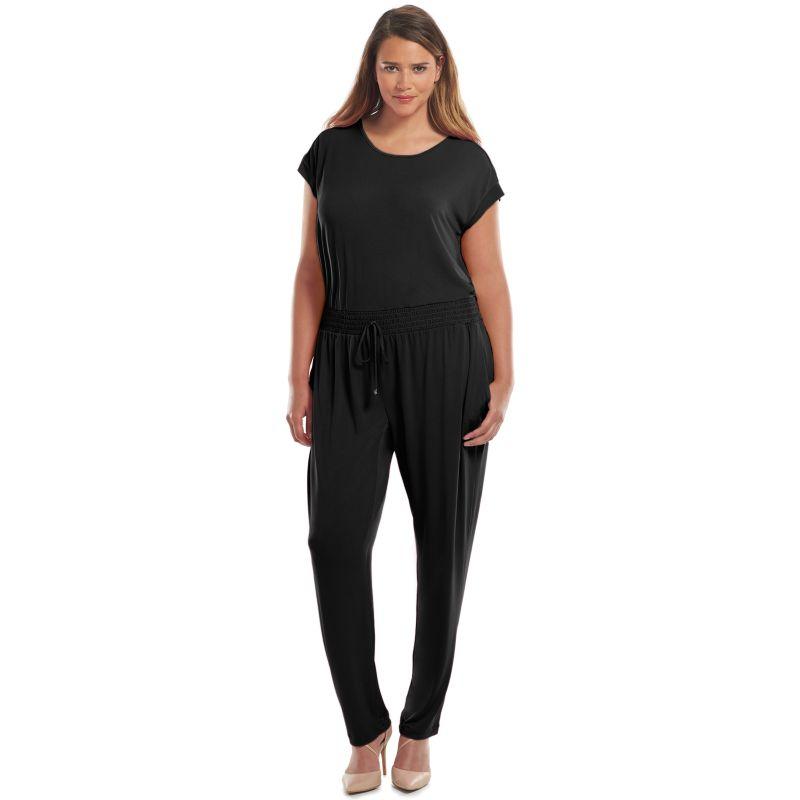 Plus Size Jennifer Lopez Open-Back Jumpsuit, Women's, Size: 16 W, Black