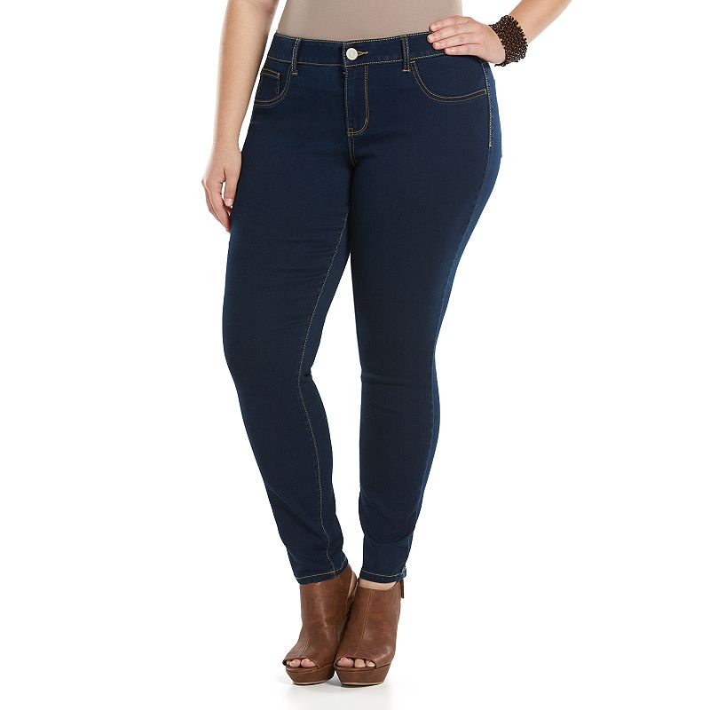 Juniors' Plus Size SO® Embroidered Pocket Skinny Jeggings
